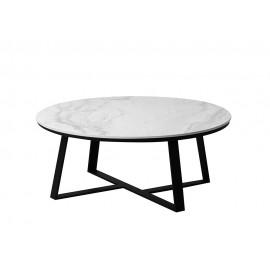 Okrągły stolik kawowy szary marmurowy błyszczący blat 90x36 cm T013