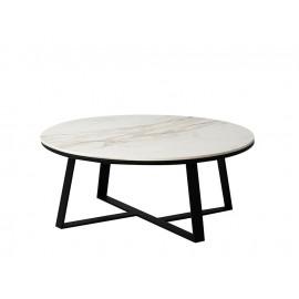 Okrągły stolik kawowy biały marmurowy błyszczący blat 90x36 cm T013