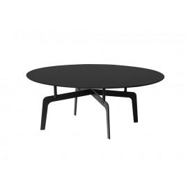 Okrągły stolik kawowy czarny matowy marmurowy blat 90x36 cm T014