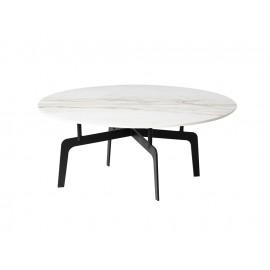 Okrągły stolik kawowy biały marmurowy błyszczący blat 90x36 cm T014