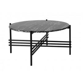 Czarny stolik z marmurowym blatem 79x39 cm T032A