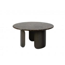 Miedziany satynowy stolik z marmurowym blatem 80x40 cm T089A