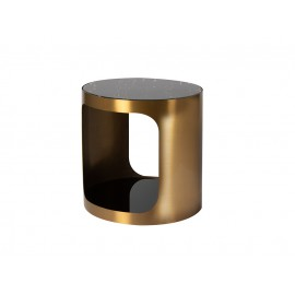 Złoty satynowy stolik dwa blaty 50x50 cm T111AB
