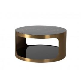 Złoty satynowy stolik dwa blaty 80x40 cm T111A