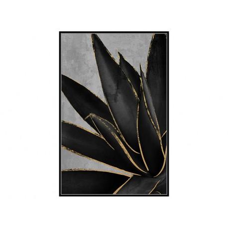 Czarny obraz złote kwiaty 82,6x122,6 cm M0220