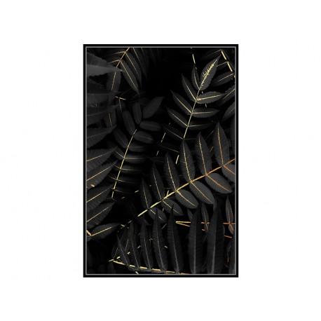 Czarny obraz złote kwiaty 82,6x122,6 cm L0269