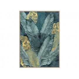 Turkusowy obraz z motywem roślinnym okraszony złotem 82,6x122,6 cm A01948