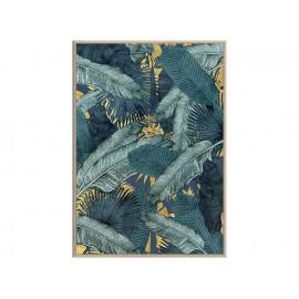 Turkusowy obraz z motywem roślinnym okraszony złotem 82,6x122,6 cm A01791