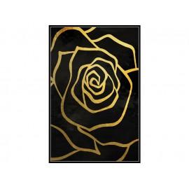 Czarny obraz złote kwiaty 82,6x122,6 cm L0259