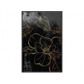Czarny obraz złote kwiaty 82,6x122,6 cm L0145