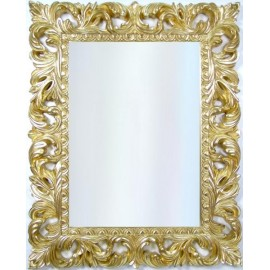 Lustro barokowe, kryształowe w złotej ramie