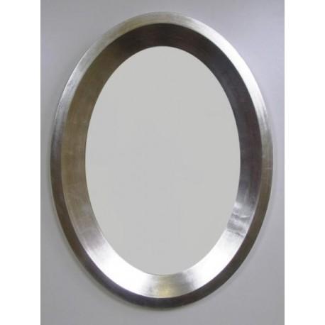 LUSTRO owalne srebrne 60x80
